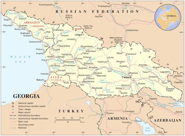 Posizione di Mestia sulla mappa della Georgia. Fonte: roza-mestia.blogspot.it